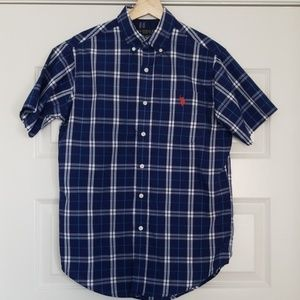USPA US Polo Assn Blue Short Sleeve Shirt Plaid